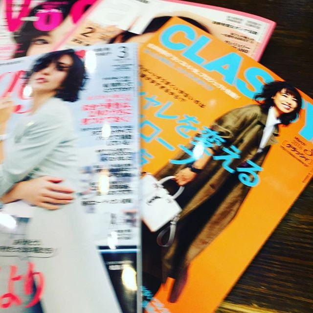 *雑誌も春カラーに**ワクワクしますね3月号続々入ってきてます#rhair#rhairatelier#雑誌3月号#2016ss#トレンドカラー#ファッション#ファッション雑誌#oggi#classy#ar#voce#福岡美容室#薬院美容室#美容室#美容師