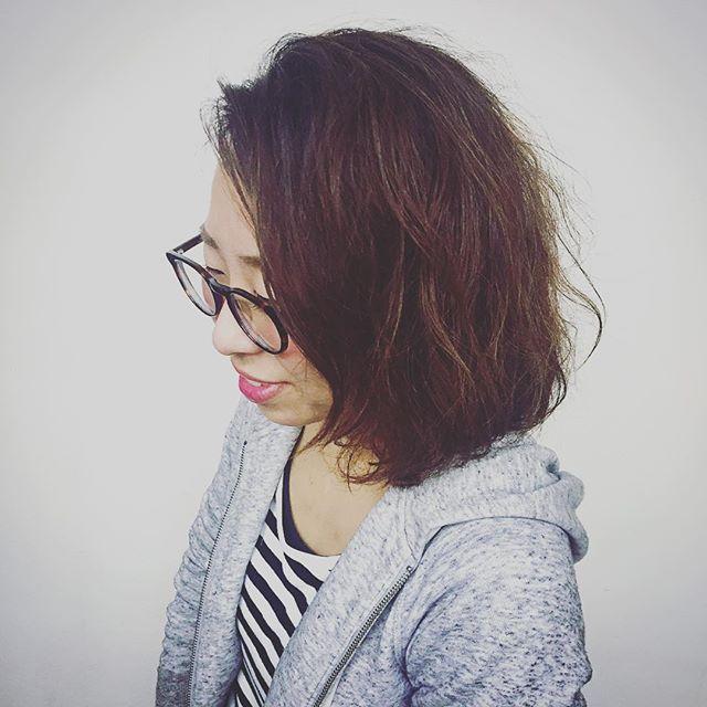 staff new hair♡ばっさり切ってパーマかけました!hair:yukamodel:chie #r#rhair#rhairatelier#美容室#福岡美容室#薬院美容室#美容師#ヘアスタイル#ヘアチェンジ#ボブ#パーマ#hair#instahair